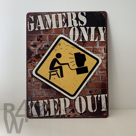 Keep out, gamers only, metalen wandbord L