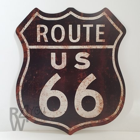 Metalen bord Route 66 US