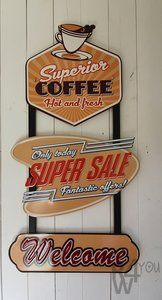 Metalen wandbord trio, coffee, super sale, welcome